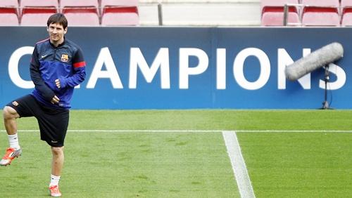 Barcelona's Lionel Messi stretches