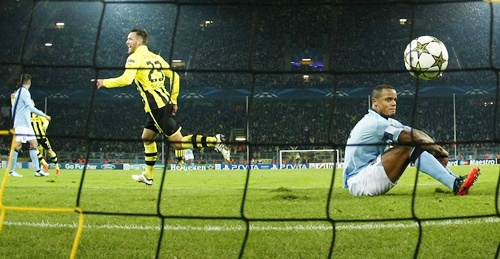 Borussia Dortmund's Schieber celebrates a goal against Manchester City
