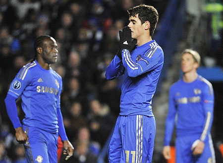 Chelsea's Oscar reacts during their Champions League Group E match against FC Nordsjaelland at Stamford Bridge on Wednesday