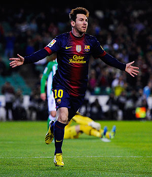 Barcelona's Lionel Messi celebrates after scoring against Real Betis at Estadio Benito Villamarin on Sunday
