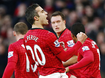 Manchester United's Robin van Persie celebrates his goal against Sunderland during their English Premier League match on Saturday