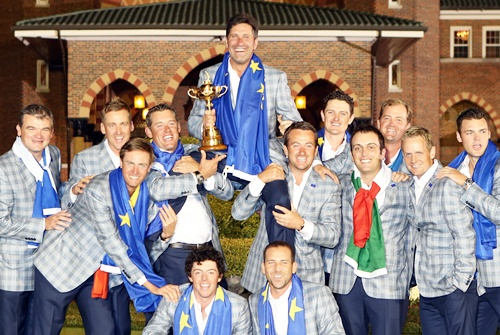 Team Europe celebrate after winning the Ryder Cup