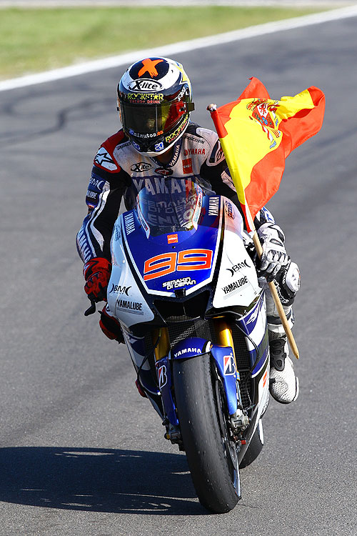 Spain's Jorge Lorenzo celebrates