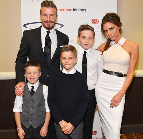 David Beckham, wife Victoria Beckham and sons