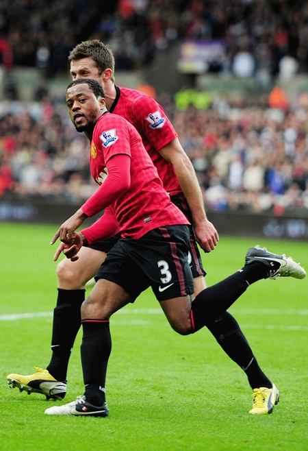 Patrice Evra of Manchester United celebrates