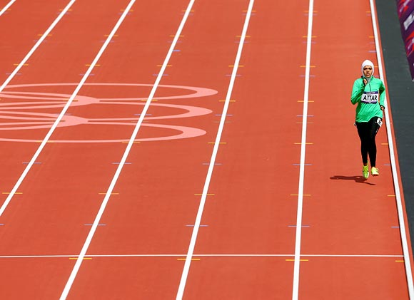Sarah Attar of Saudi Arabia competes in the Women's 800m