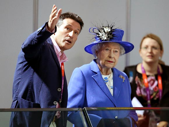 Queen Elizabeth II with Lord Sebastian Coe, Chairman of the London Organising Committee of the Olympic Games