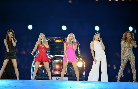 Victoria Beckham, Geri Halliwell, Emma Bunton, Melanie Chisholm and Melanie Brown of The Spice Girls perform during the closing ceremony