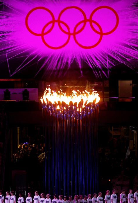 The Olympic Cauldron underneath the Olympic rings