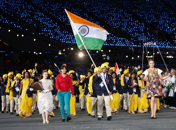 Sushil Kumar carries the Indian flag during the opening ceremony of the London 2012 Olympic Games
