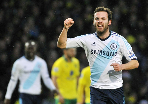 Chelsea's Juan Mata celebrates scoring against Norwich City at Carrow Road