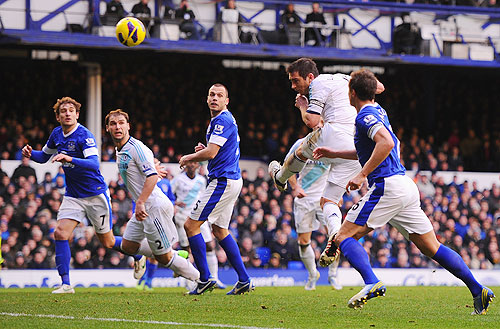 Chelsea's Frank Lampard heads equalise against Everton during their Premier League match on Sunday