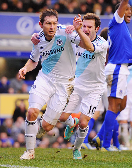 Frank Lampard celebrates after scoring the second goal against Everton on Sunday