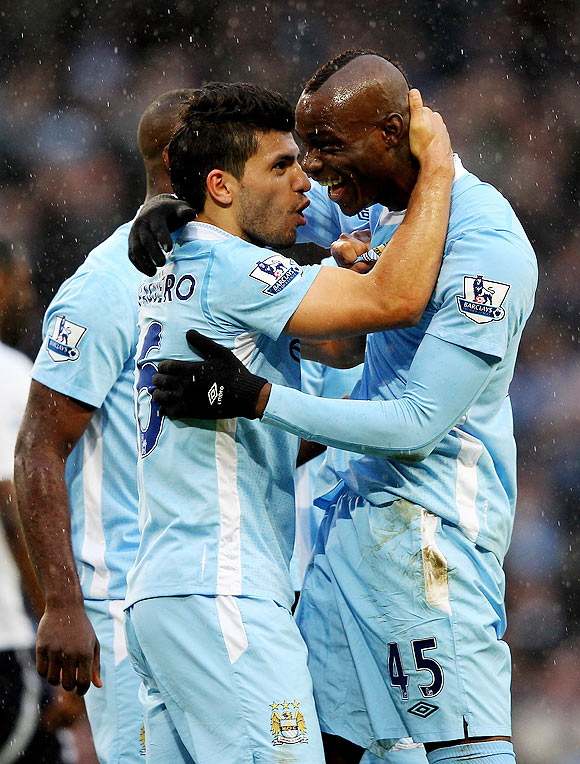 Manchester City's Sergio Aguero and Mario Balotelli