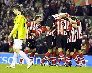 Athletic Bilbao's celebrate their second goal against Mirandes during their Spanish King's Cup semi-final second leg match on Tuesday