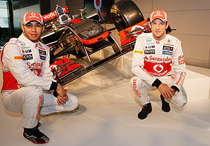 Team McLaren Mercedes drivers Lewis Hamilton (left) and Jenson Button unveil the new MP-27 Formula 1 car