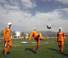 Iran's women's national soccer team during a practice session in Tehran