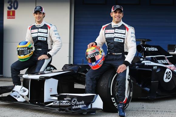 Bruno Senna (left) with Williams team-mate Pastor Maldonado