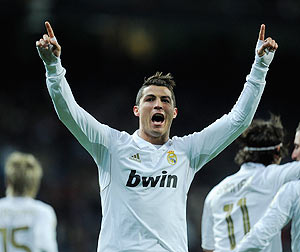 Real Madrid's Cristiano Ronaldo celebrates after scoring against Levante on Monday