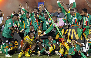 Zambia's football team celebrate after defeating Ivory Coast to win the 2012 African Cup of Nations Cup on Sunday