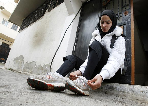 Palestinian runner Worood Maslaha