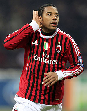 AC Milan's Robinho celebrates after scoring against Arsenal during their Champions League match in San Siro on Wednesday