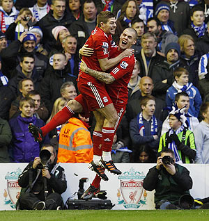 Liverpool's Martin Skrtel (right) celebrates with Steven Gerrard after scoring against Brighton and Hove Albion during their FA Cup fifth-round match on Sunday