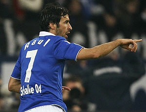 Schalke 04's Raul celebrates a goal against Wolfsburg during their Bundesliga match in Gelsenkirchen on Sunday