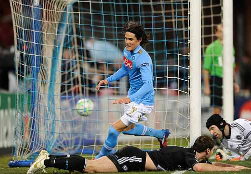 Napoli's Edinson Cavani celebrates after scoring during the UEFA Champions League round of 16 first leg match against Chelsea at Stadio San Paolo