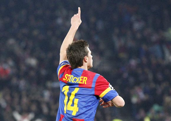 Basel striker Valentin Stocker celebrates after scoring the winning goal