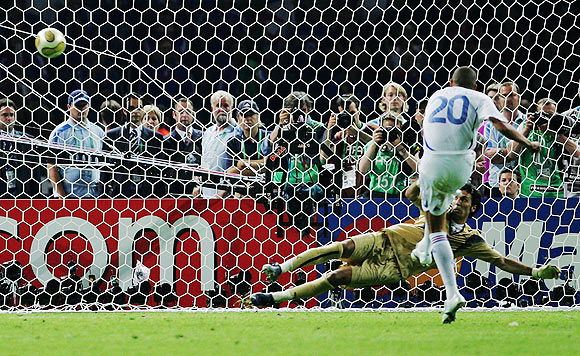 David Trezeguet of France misses his penalty kick during a penalty shootout at the end of the FIFA World Cup Germany 2006
