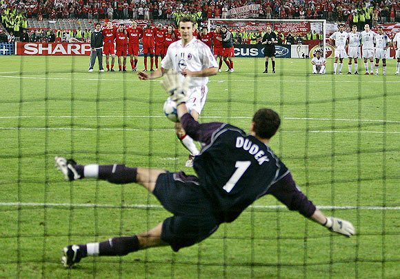 Shevchenko's shot was saved by Dudek