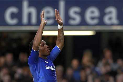 Didier Drogba celebrates after scoring against Aston Villa