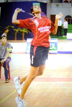 PV Sindhu seen here training at the Gopichand Academy in 2012