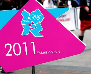 A sign informing of Olympic ticket sales is displayed
