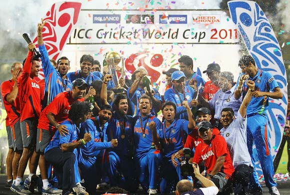 The Indian team celebrate after winning the 2011 World Cup