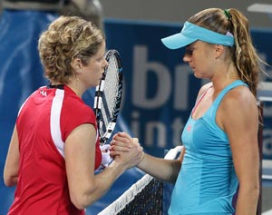 Kim Clijsters of Belgium is injured and eventually withdraws from her match against Daniela Hantuchova of Sovlakia