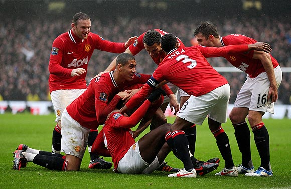 Danny Welbeck of Manchester United celebrates with his team-mates