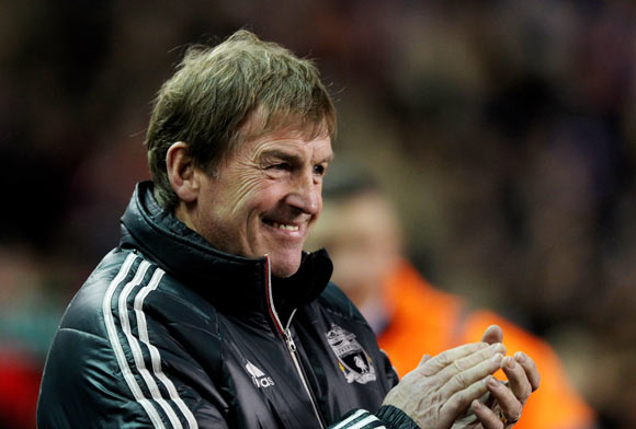 Liverpool Manager Kenny Dalglish applauds prior to the FA Cup 3rd Round match between Liverpool and Oldham Athletic at Anfield
