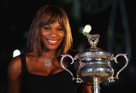 Serena Williams of the United States of America poses with the Daphne Akhurst Trophy in Garden Square