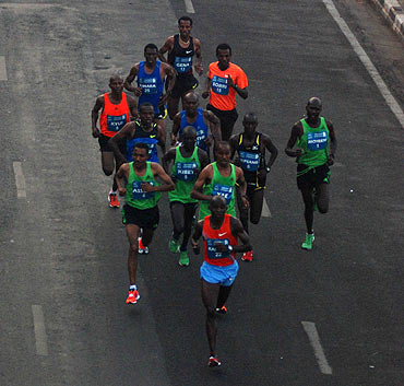The men's elite atheletes in action at the Mumbai Marathon on Sunday