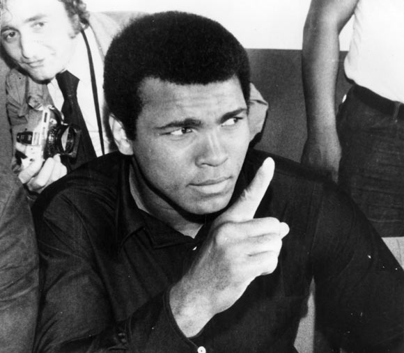 American heavyweight boxer Muhammad Ali addressing the press at Kinshasa where he is preparing for his fight against world champion, George Foreman.