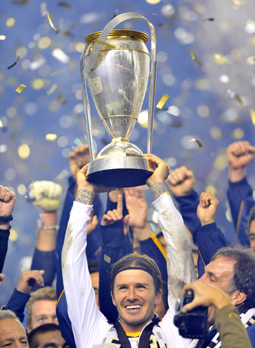 David Beckham at the MLS cup final held at The Home Depot Center on November 20, 2011 in Carson, California