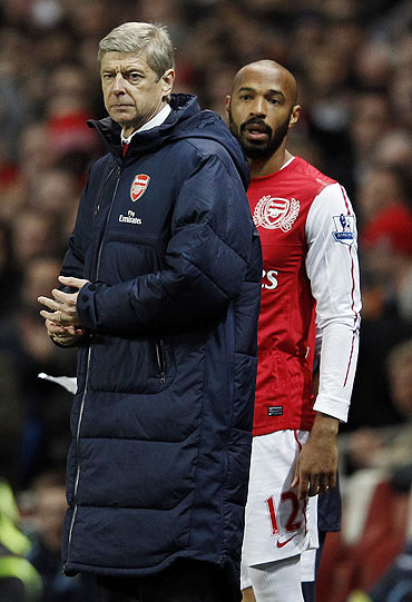 Arsene Wenger with Thierry Henry