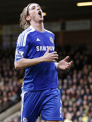 Chelsea's Fernando Torres reacts after missing a chance to score during their EPL match against Norwich City on Saturday