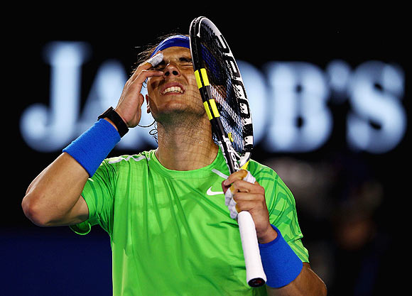 Rafael Nadal of Spain reacts in his semifinal match against Roger Federer of Switzerland