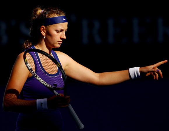 Petra Kvitova of the Czech Republic calls for a challenge