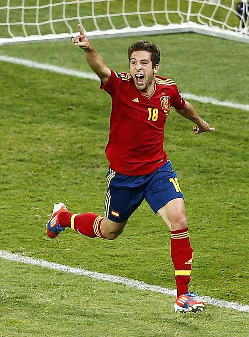 Spain's Jordi Alba celebrates his goal during their Euro 2012 final match against Italy