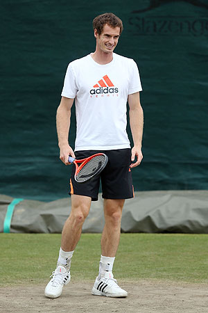 Andy Murray of Great Britain looks on during a practice session on Saturday
