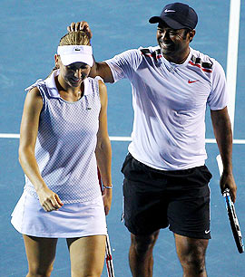 Leander Paes with Elena Vesnina